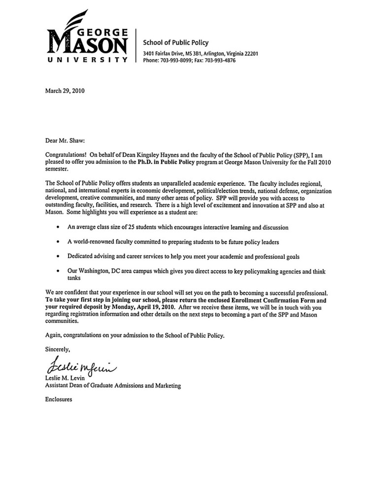 My Acceptance Letter
